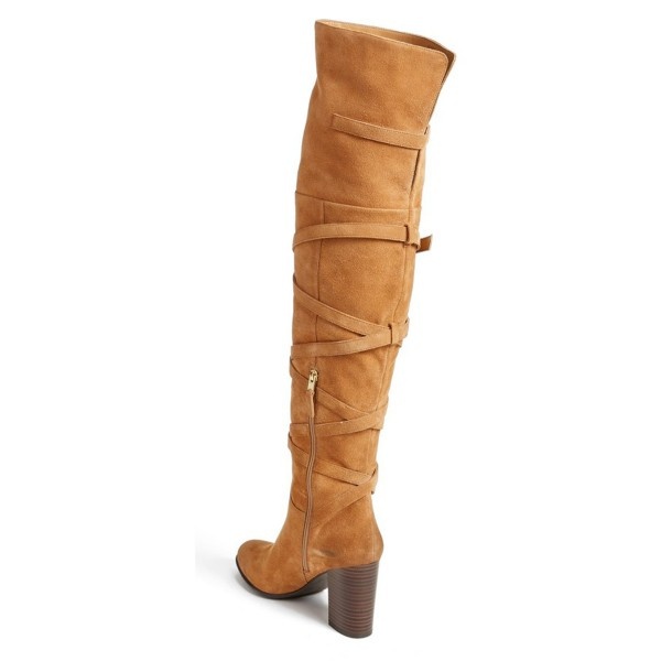Khaki Long Boots Suede Strappy Chunky Heel Thigh-high Boots image 2