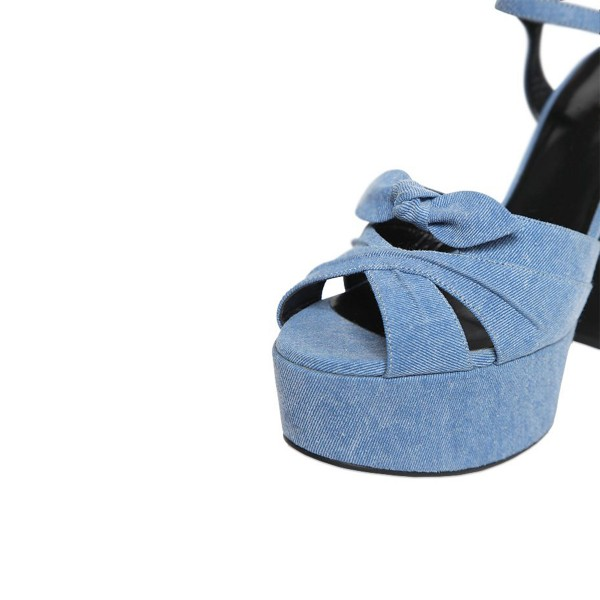 Blue Jean Heels Peep Toe Denim Chunky Heel Platform Sandals with Bow image 4
