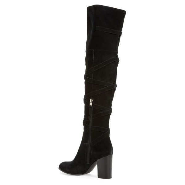 Black Chunky Heels Boots Suede Women's Over-the-knee Boots image 2