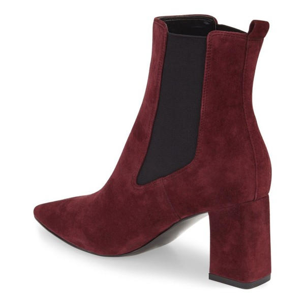 Burgundy Chelsea Boots Chunky Heel Pointy Toe Suede Shoes for Work image 2