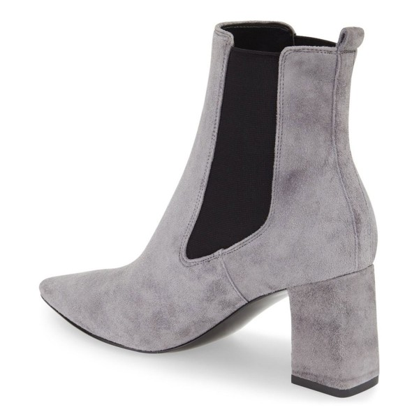 Grey Chelsea Boots Suede Chunky Heels Pointy Toe Ankle Booties image 2