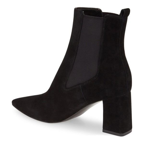 Black Slip on Boots Pointy Toe Suede Block Heel Chelsea Boots image 3