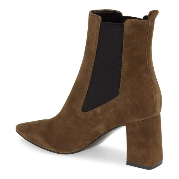 Brown Chelsea Boots Pointy Toe Chunky Heel Suede Shoes image 2