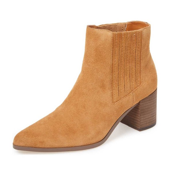Mustard Suede Wooden Chunky Heel Boots Pointy Toe Comfy Ankle Boots image 1