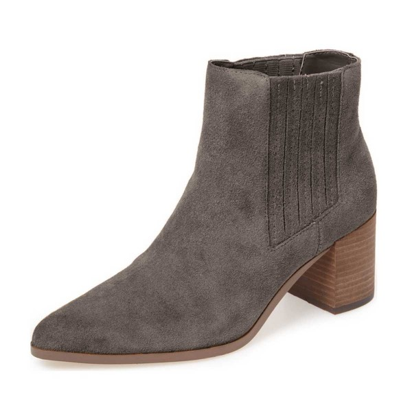 Dark Grey Suede Slip on Boots Pointy Toe Block Heel Vintage Boots image 1