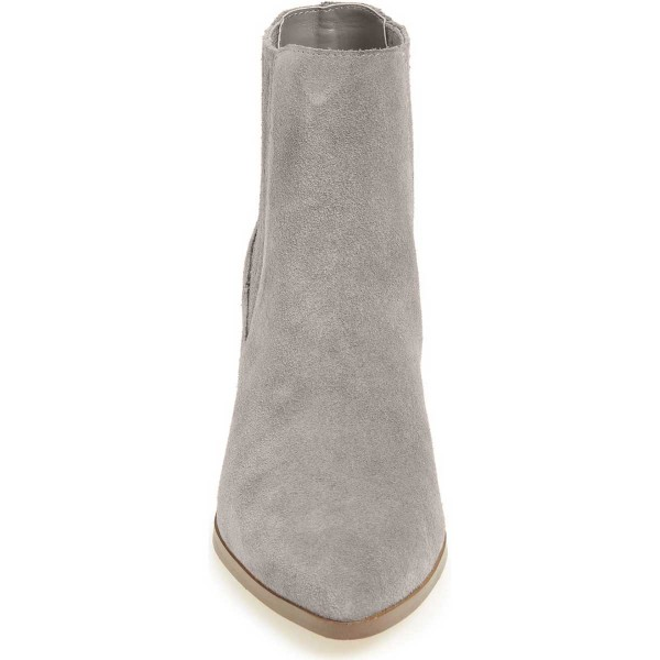 Women's Light Gray Pointed Toe Ankle Chunky Heel Boots image 3