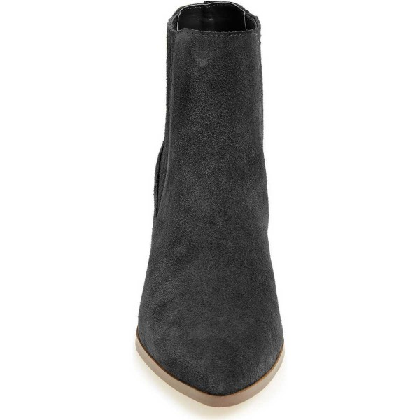 Black Suede Short Boots Pointy Toe Wooden Block Heel Ankle Boots image 3