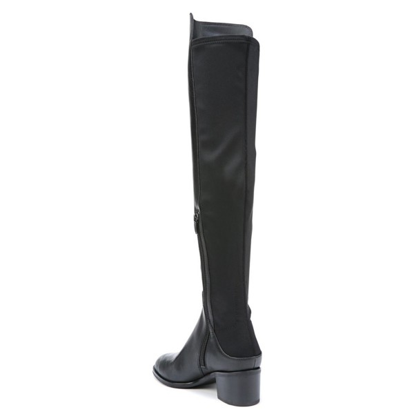 Women's Black with Zipper Knee Over Chunky Heel Boots image 2