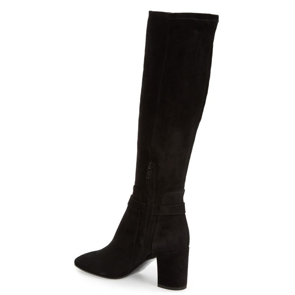 Black Women's Dress Boots Suede Block Heel Knee Boots image 3