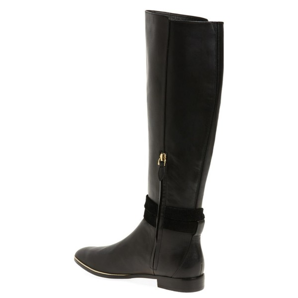 FSJ Black Flat Boots Pointy Toe Knee Boots with Tie image 3