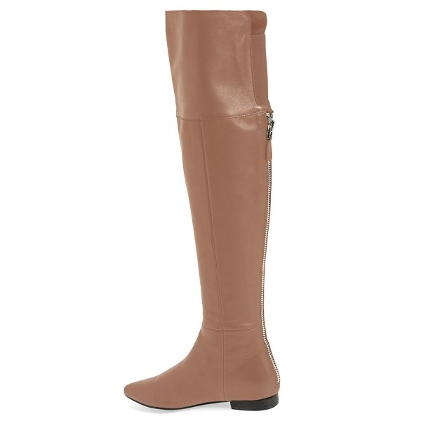 FSJ Apricot Flat Boots Pointy Toe Vegan Over-the-Knee Boots image 4