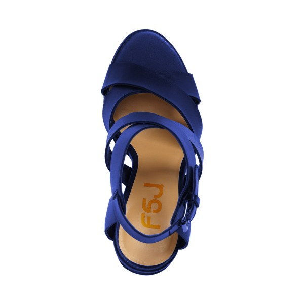 Navy Blue Sandals Open Toe Cross-over Strap Block Heel Sandals image 3