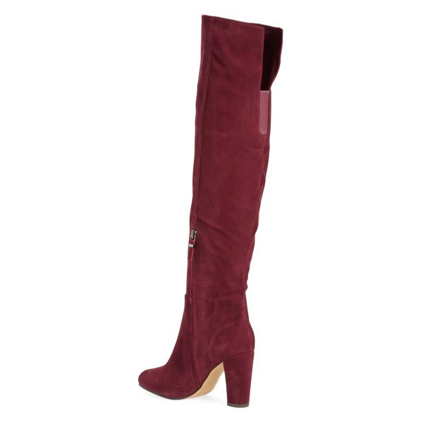 Burgundy Chunky Heel Boots Suede Vintage Over-the-knee Boots  image 3