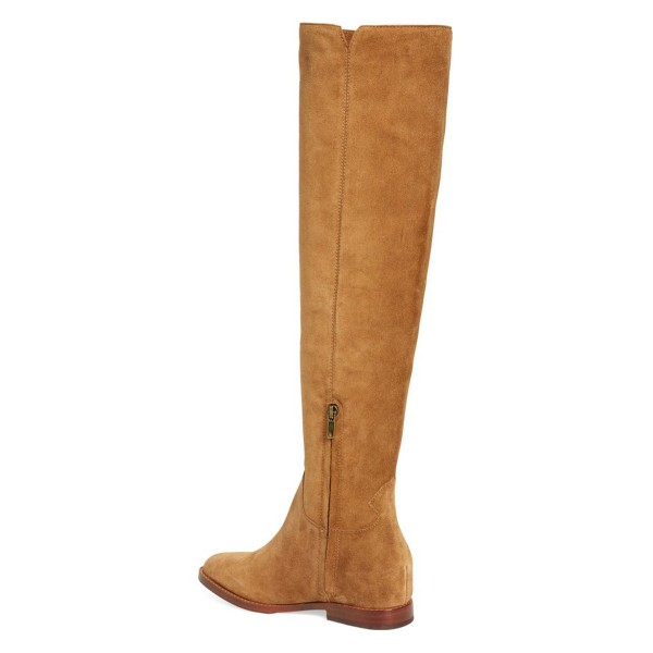 Suede Tan Boots Vintage Comfortable Flats Knee-high Boots image 3