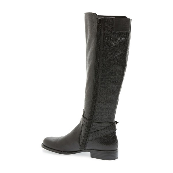 Black Round Toe Buckles Low Heel Textured Vegan Leather Riding Boots image 2