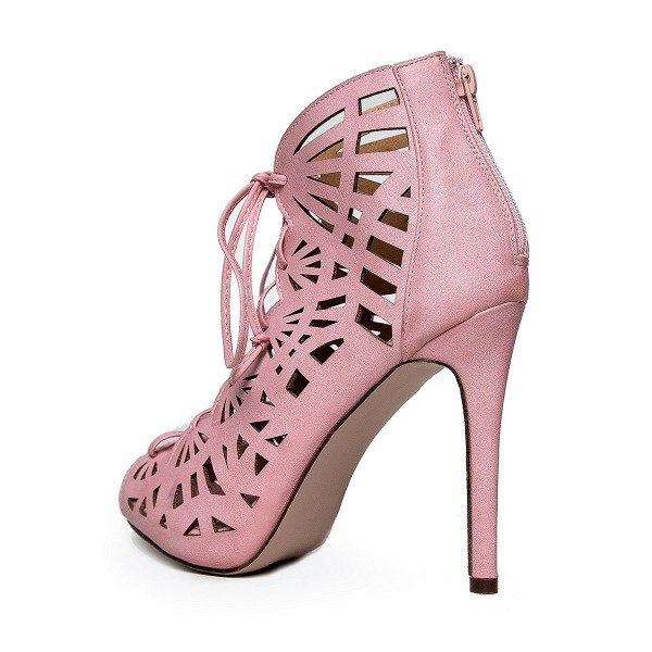 Women's Pink Hollow-out Formal Evening Dress Lace-up Sandals image 3