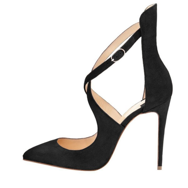 Women's Leila Black Crossed-Over Strappy Stiletto Heels Shoes image 2