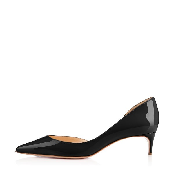 Black Kitten Heels Pointy Toe Patent Leather D'orsay Pumps for Women image 4