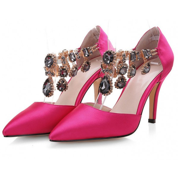 Hot Pink Satin Evening Shoes Jeweled Closed Toe Double D'orsay Pumps image 1