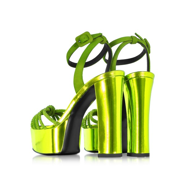 Neon Prom Shoes Ankle Strap Chunky Heel Platform Sandals Evening Shoes image 3