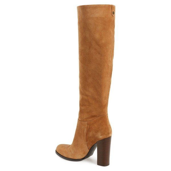Khaki Suede Knee High Vintage Shoes Suede Boots image 2