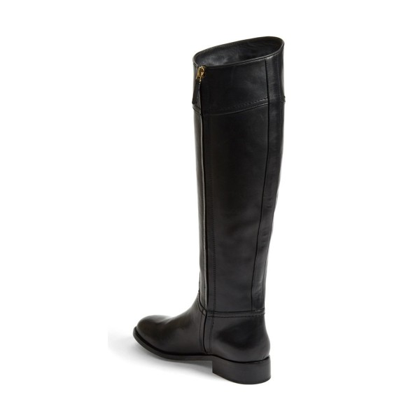 Black Riding Boots Round Toe Shiny Vegan Leather Flat Knee Boots image 3