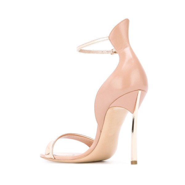 Nude Patent Leather Stiletto Heels Ankle Strap Sandals for Women image 2