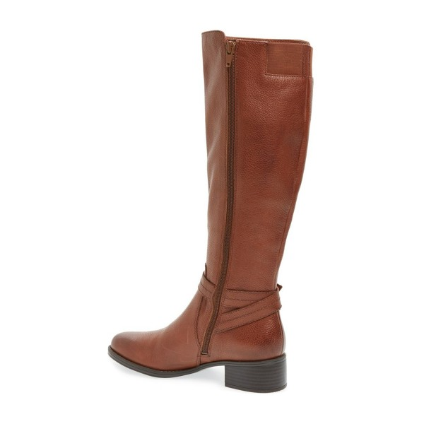 Tan Boots Round Toe Low Heel Textured Vegan Leather Riding Boots image 3
