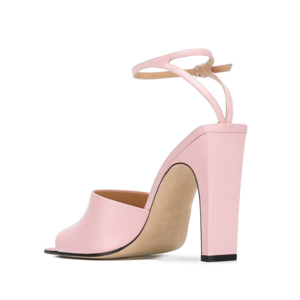 Women's Pink Heels Peep Toe Ankle Strap Sandals  image 2