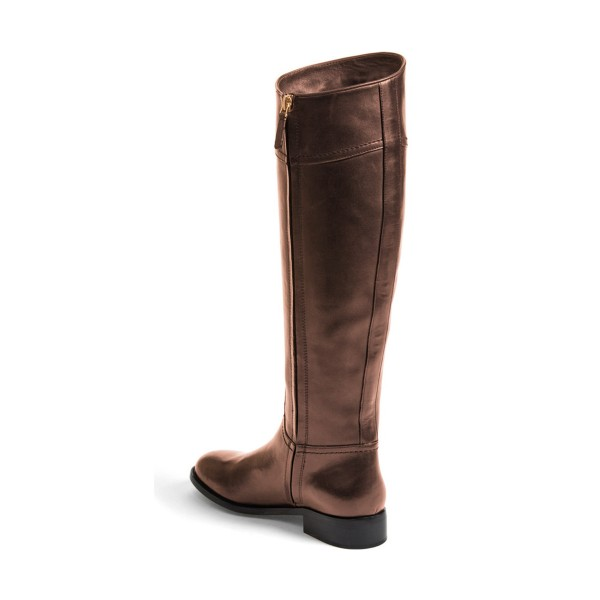 Brown Riding Boots Round Toe Shiny Vegan Leather Flat Knee Boots image 3