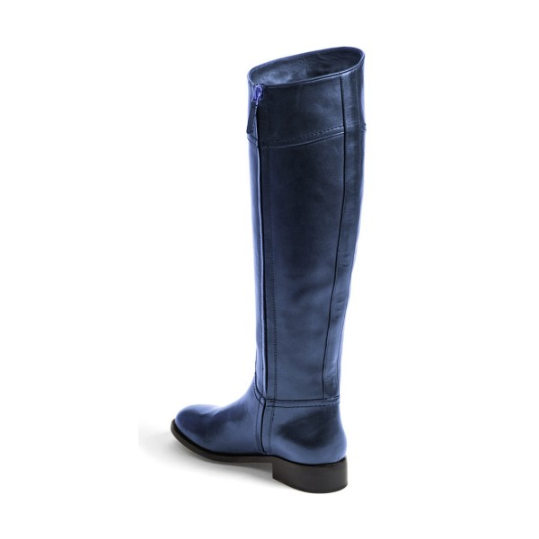 Navy Fashion Boots Flat Knee-high Comfy Boots image 2