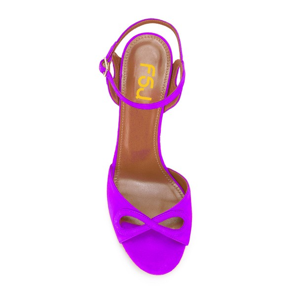 Women's Purple Ankle Strap Heels Prom Chunky Heels Sandals  image 3