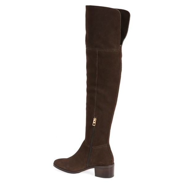 Dark Brown Long Boots Suede Block Heels Over-the-knee Boots image 3