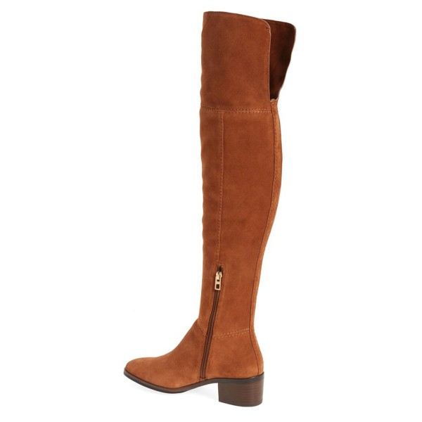 Tan Boots Suede Long Boots Chunky Heeel Over-the-knee Boots image 2