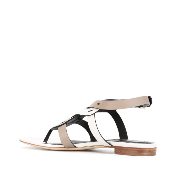 FSJ White and Tan Thong Sandals Trending Flat Summer Sandals image 3