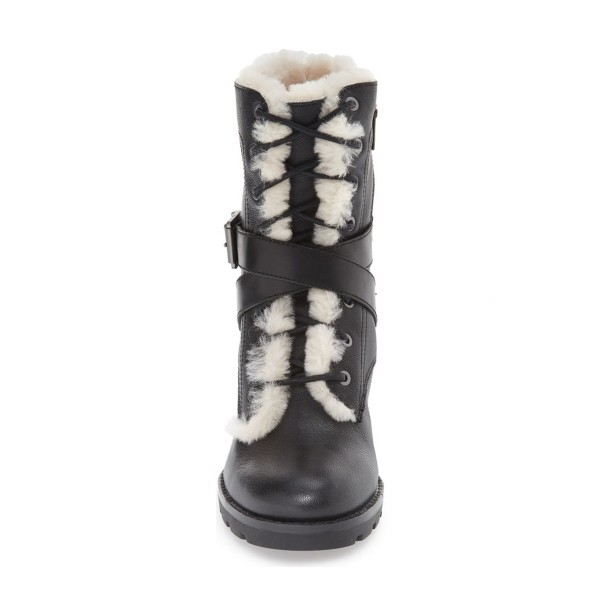 Black Lace up Combat Boots Round Toe Chunky Heels for Winter image 2