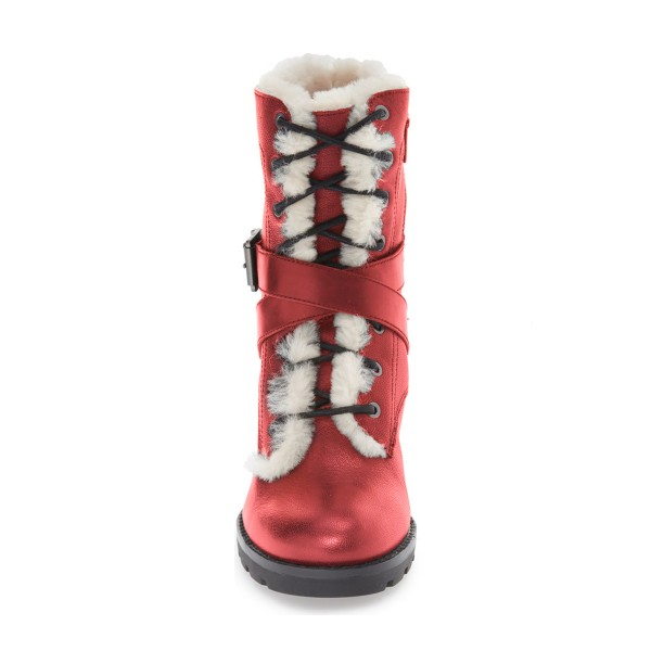 Red Combat Boots Lace up Chunky Heels for Winter image 2