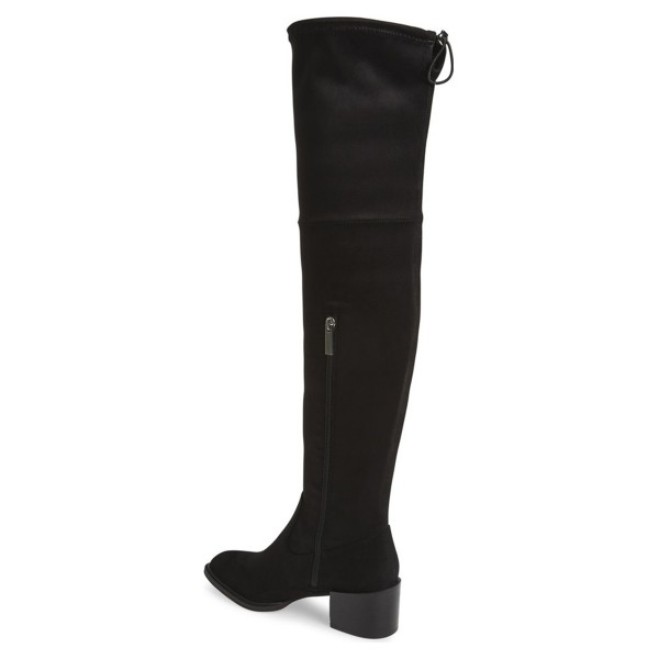 Black Long Boots Chunky Heel Suede Over-the-Knee Boots  image 3