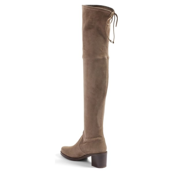 Khaki Suede Long Boots Chunky Heel Thigh-high Boots image 2