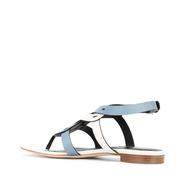 FSJ White and Blue Thong Sandals Trending Flat Summer Sandals image 3