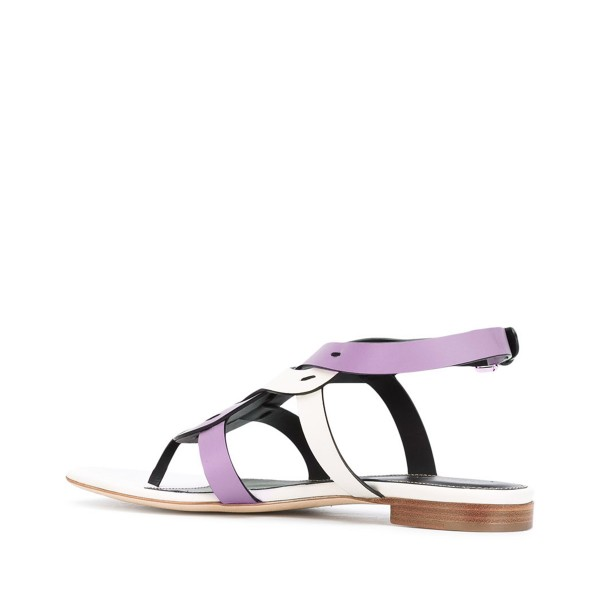 FSJ White and Purple Thong Sandals Trending Flat Summer Sandals image 3