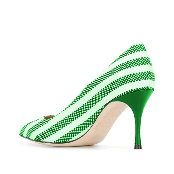 Green and White Stripes 3 Inch Heels Pointy Toe Spool Heel Pumps image 3