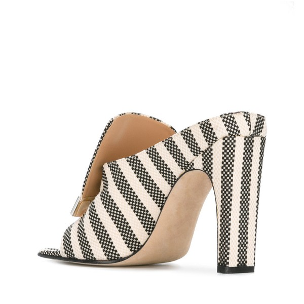 FSJ Black and Ivory Stripes Mule Heels Open Toe Office Chunky Heels image 3