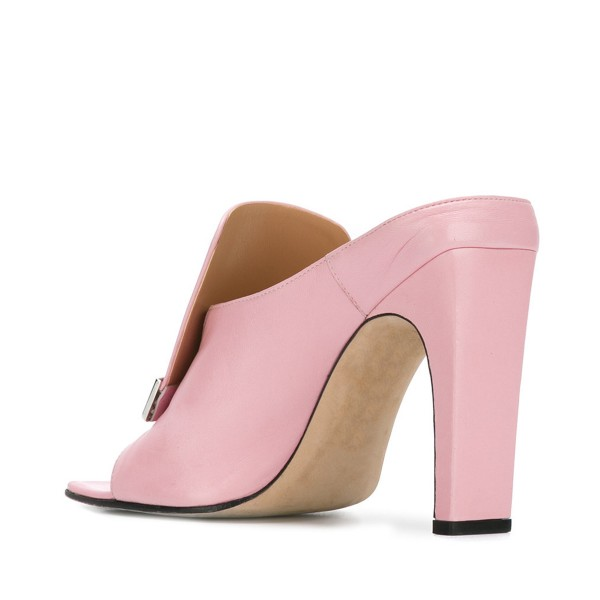 Pink Block Heels Women's Formal Shoes Mule Sandals image 3