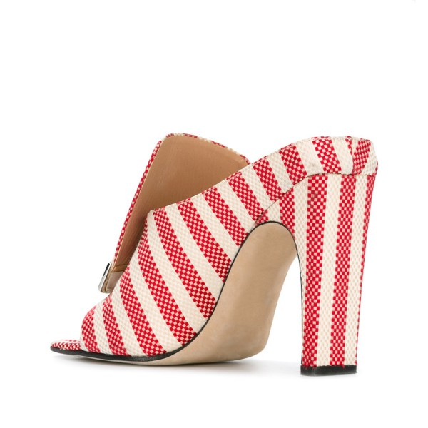 Women's Red and White Plaid Stripes Formal Chunky Heels Mule Sandals image 2