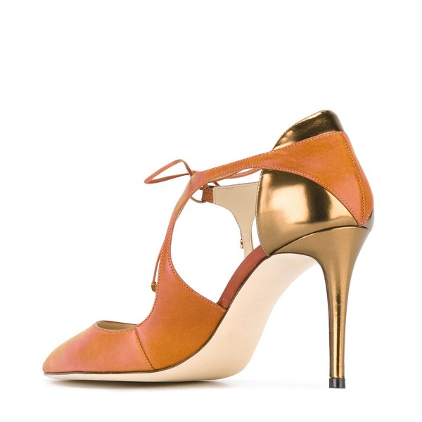 Women's Orange Pointed Toe Stiletto Lace-up Heels Sandals image 3