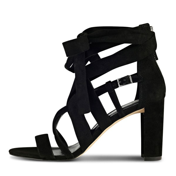Black Strappy Sandals Lace up Suede Block Heels  image 3