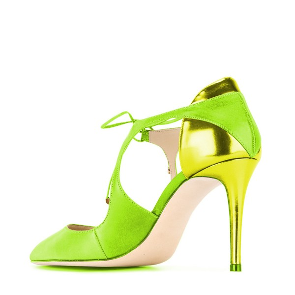 Women's Green Lace-up Pointed Toe Stiletto Heels Sandals image 3