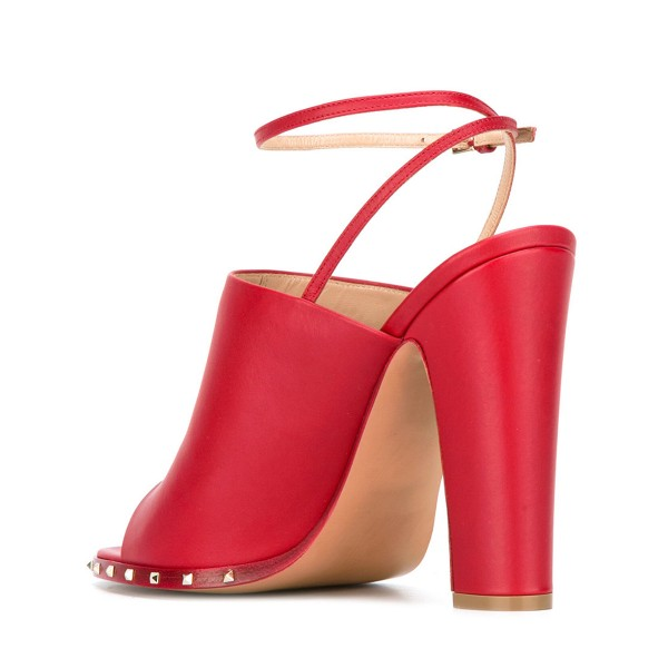 Women's Red Slingback Pumps Rivets Chunky Heels Form Shoes image 3