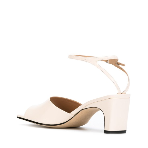 Women's White Heels Ankle Strap Office Chunky Heel Sandals  image 3